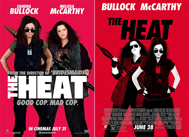 "Melissa McCarthy is almost unrecognizable in these American and UK posters for the movie ""The Heat""."